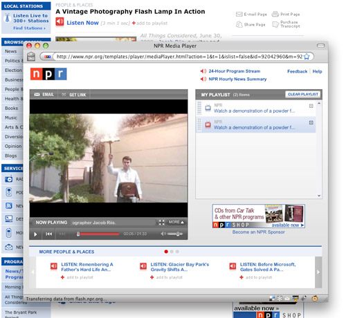 Screenshot of NPR media player